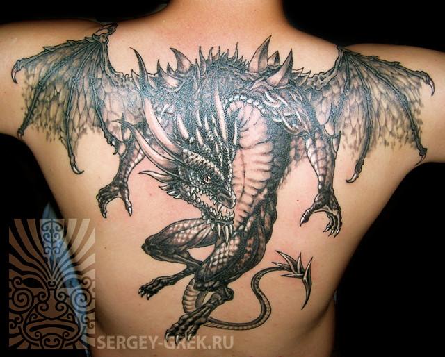 Татуировка дракон с крыльями