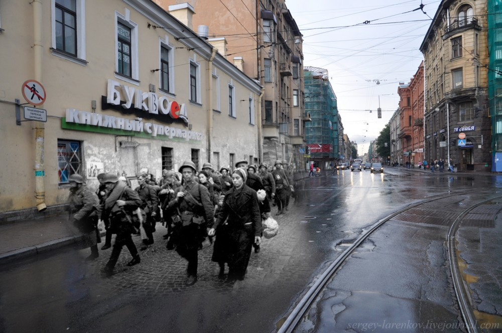 Leningrad/St.Petersburg, 1941-2011. People's volunteer corps is going to the front.
