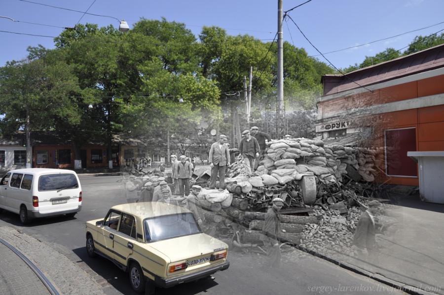 Одесса 1941-2012 Баррикада на Дальницкой ул.