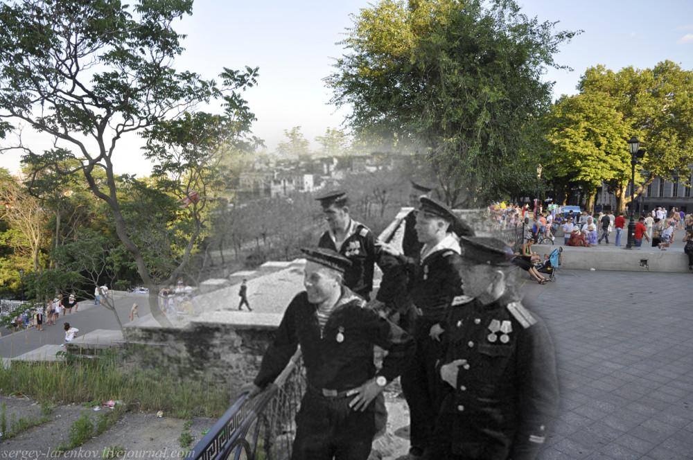 Одесса 1944/2012 Моряки у Потёмкинской лестницы