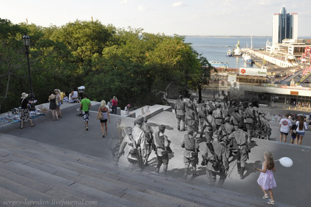 Odessa 1944/2012 Soldiers-liberators on the Potemkin Stairs