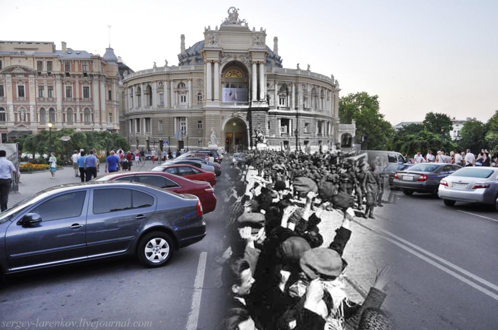 Одесса 1944/2012 Жители встречают советские войска на Ришельевской улице после освобождения города от немецко-фашистских оккупантов.