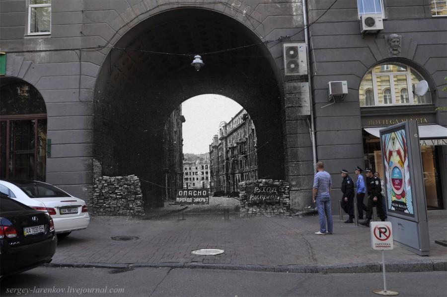 Киев 1944/2012 Разрушенный большой пассаж со стороны ул. Заньковецкой
