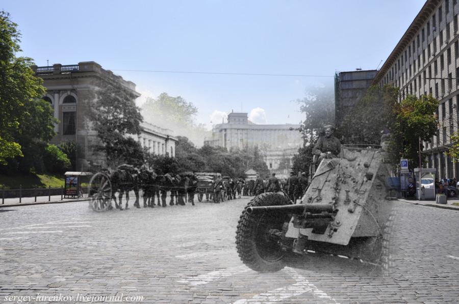 Киев 1941/2012 Немецкая пушка на пл.Сталина (ныне Европейской)