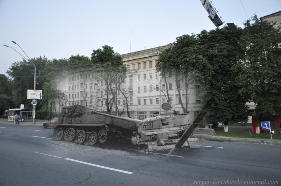 Киев 1943/2012 Уничтоженная немецкая техника на Брест-Литовском шоссе (ныне проспект Победы)