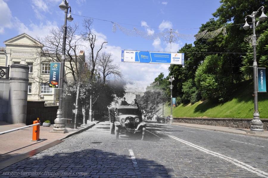 Киев 1941/2012 Немецкие части двигаются  по ул.Кирова (ныне Михаила Грушевского)