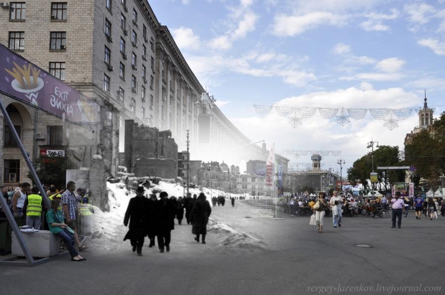Киев 1942/2012 Разрушенный Крещатик.