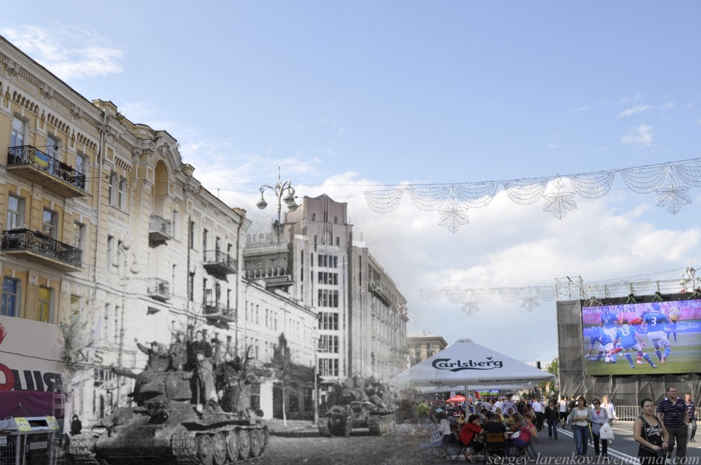 Kiev 1943/2012  Tanks General Rybalko who liberated Kiev, pass on Khreschatyk.