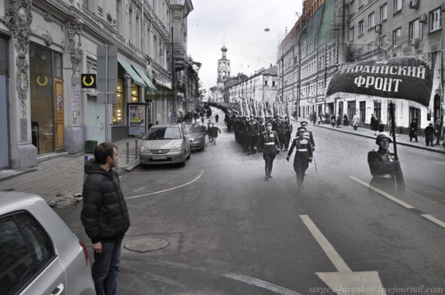 Москва 1945-2012 Ул.Петровка. Парад Победы. Сводная колонна 4-го Украинского фронта  движется к Красной площади.