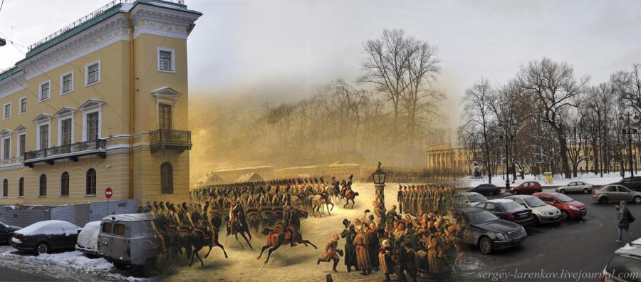Восстание декабристов. С картины Василия Фёдоровича Тимма (1820-1895).