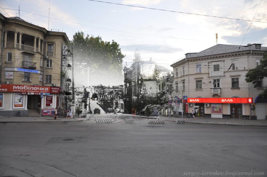 Севастополь 1944/2012 Разрушения города, вид с Большой Морской вдоль Ул. Адмирала Октябрьского.