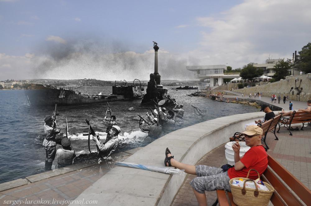 Севастополь 1944/2012 У памятника затопленным кораблям.