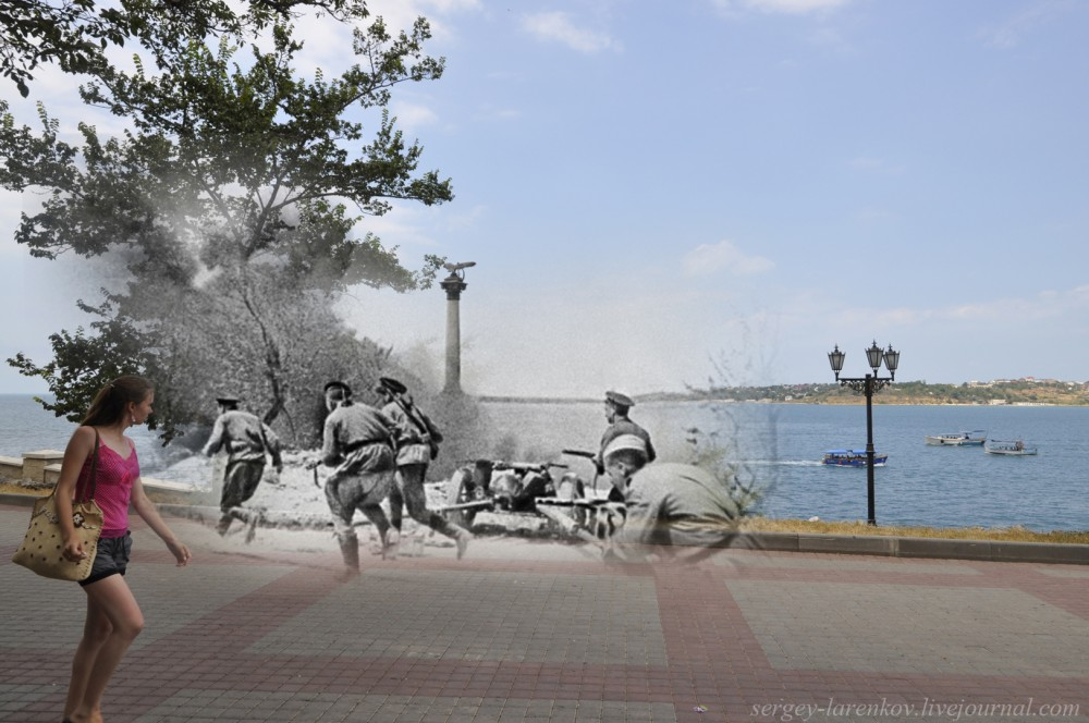 Sevastopol 1944/2012 Soviet Marines on the Primorskiy blvd.
