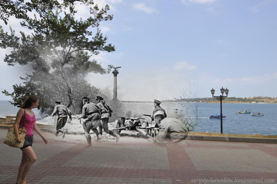Севастополь 1944/2012 Советская морская пехота на Приморском бульваре.