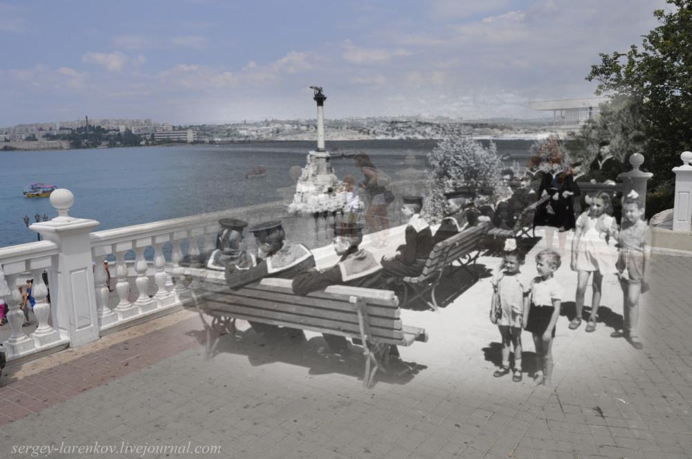 Севастополь 1944/2012  Юные моряки и дети на Приморском бульваре в освобожденном г.Севастополе.
