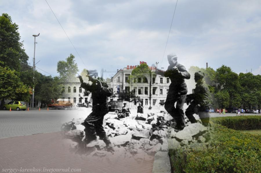 Севастополь 1944/2012 Сдающиеся в плен гитлеровцы на площади Нахимова.