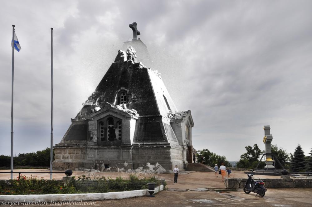 Севастополь 1944/2012 Разрушения Свято-Никольского храма на Братском кладбище, где лежат герои Первой обороны Севастополя (1854-1855)
