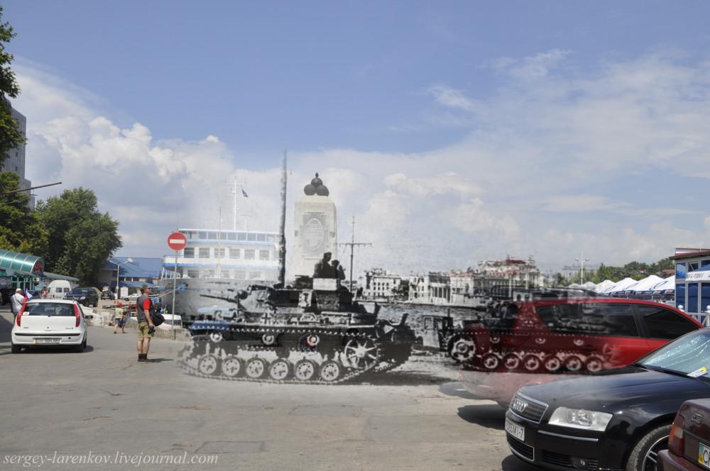 Севастополь 1942/2012 Немецкие танки Т-III у Артиллерийской бухты.
