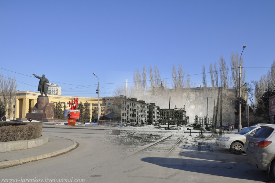 18.Сталинград 1943-Волгоград 2013. Дом Павлова с площади Ленина