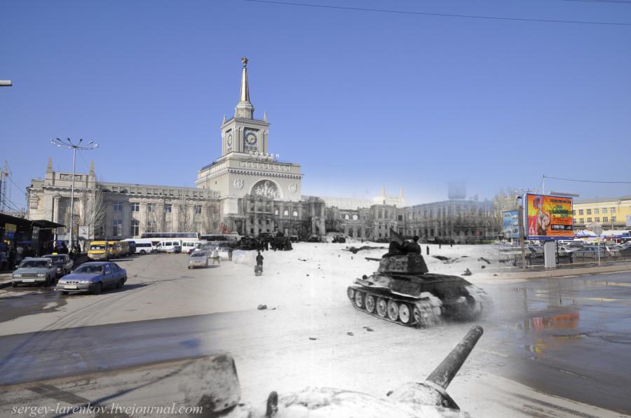 24.Сталинград 1943-Волгоград 2013. Советские танки Т-34 у вокзала