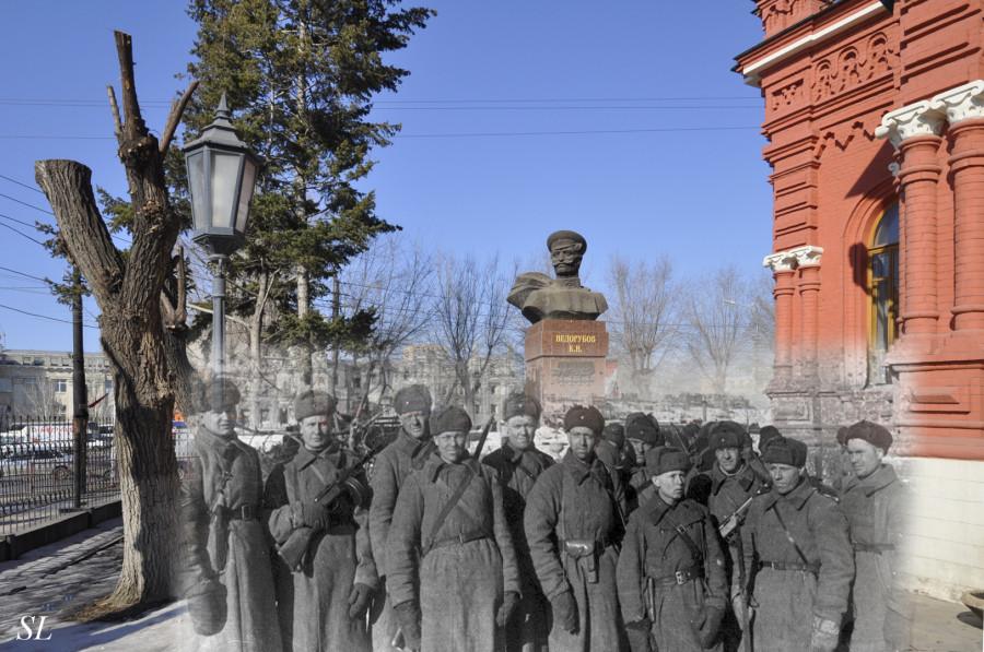 25.Сталинград 1942-Волгоград 2013.Солдаты у музея по окончании боев