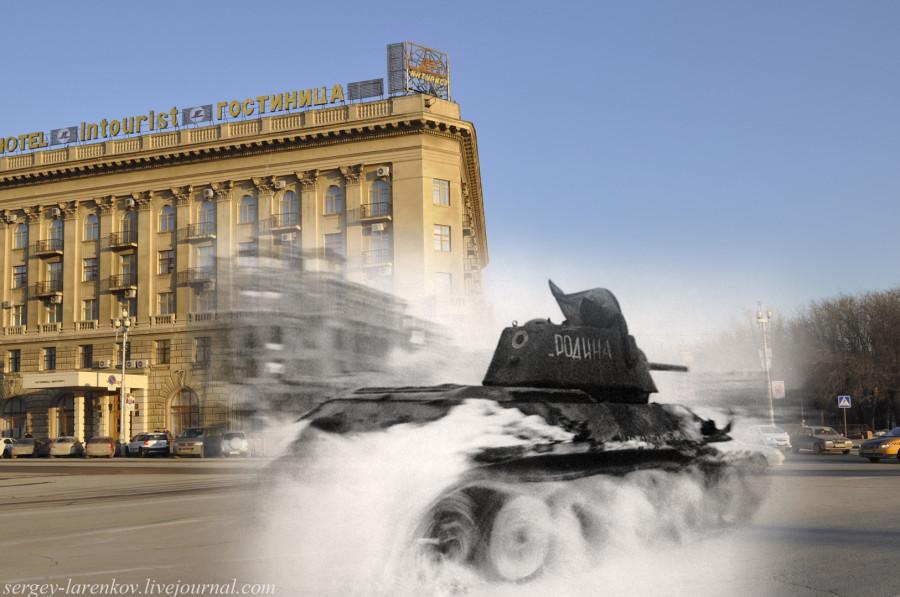 40.Сталинград 1943-Волгоград 2013. Танк Т-34 на площади Павших Борцов