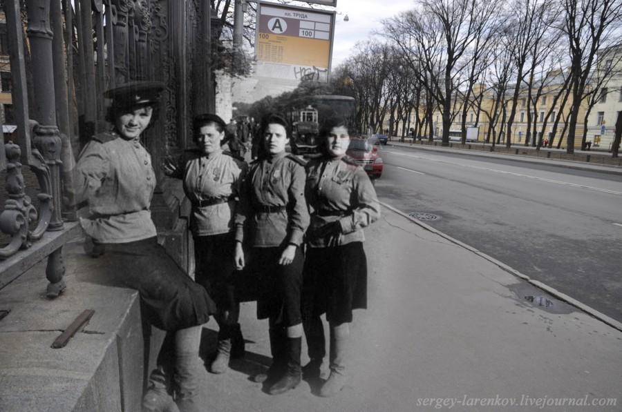 Ленинград 1943-2012. Девушки бойцы МПВО на бульваре Профсоюзов (Конногвардейском)