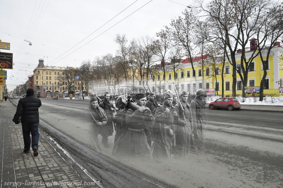 Ленинград 1942-2012. Загородный проспект. Пулеметчики на пути к фронту