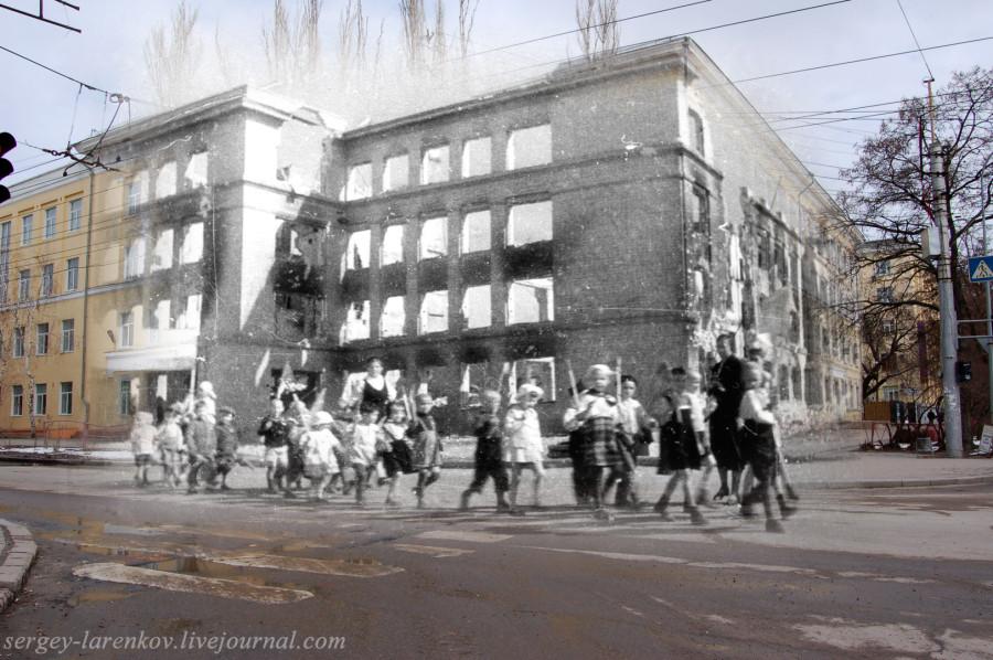 Сталинград 1943 - Волгоград 2013 Дети Сталинграда у разрушенного здания школы.