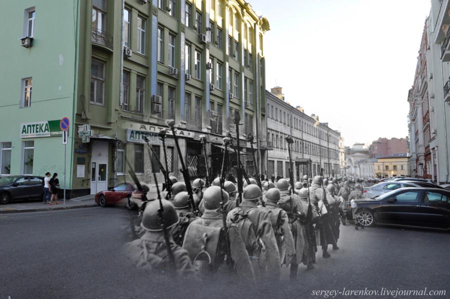 Москва 1941-2013 Мясницкий проезд. Истребители танков на марше.