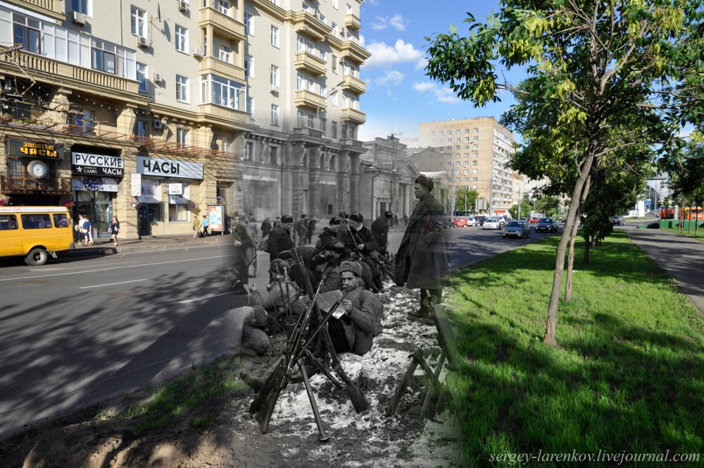 Moscow. 1941-2013 Leningradskiy Prospect. Fighters of people's volunteer corps before going on the lines of defense of the capital.
