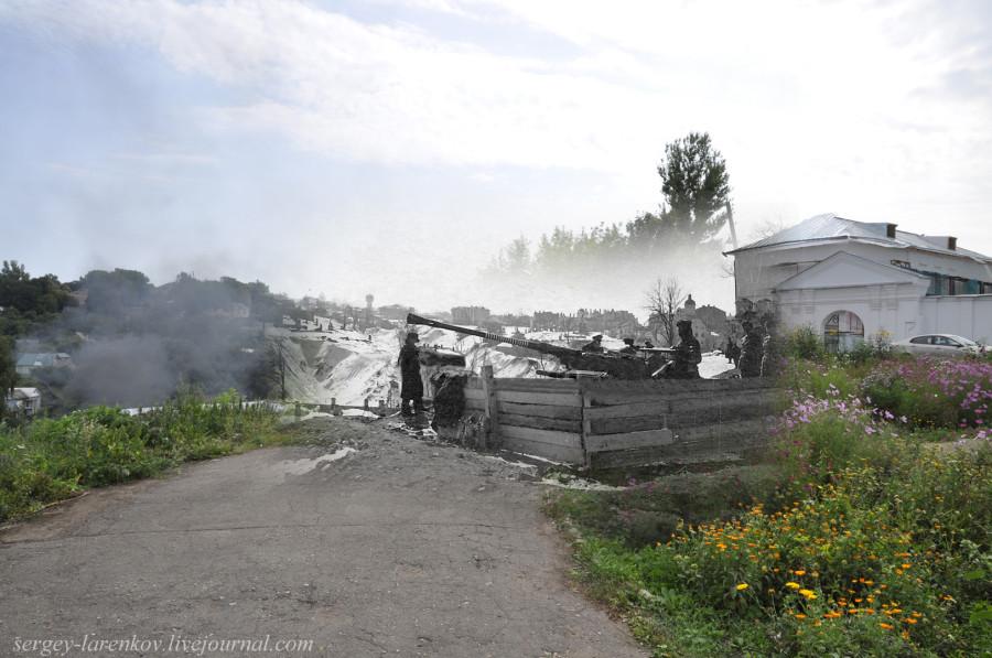 25.Смоленск 1941-2013 немецкая зенитка у собора