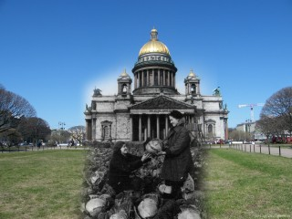 Espectaculares montajes  con fotos de ayer y hoy de la Batalla de Leningrado S320x240