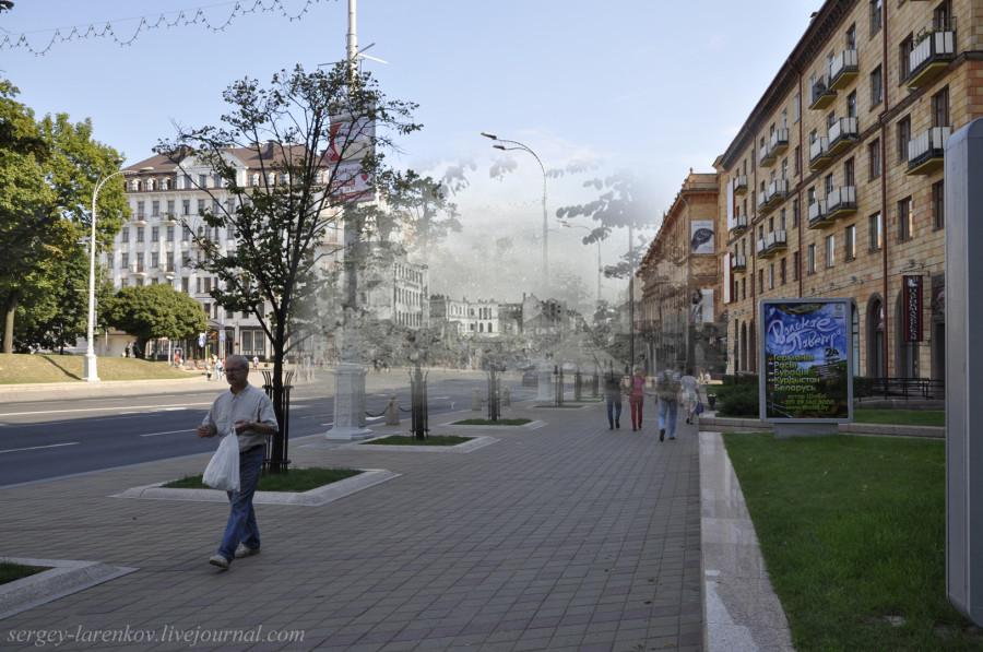 28.Минск 1943-2013 Разрушения на  ул ЛенинаSL