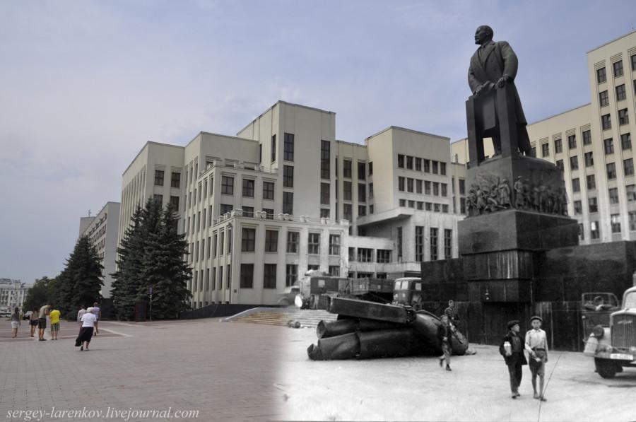 16.Минск 1941-2013 Площадь Свободы. Мальчишки у сброшенного ЛенинаSL