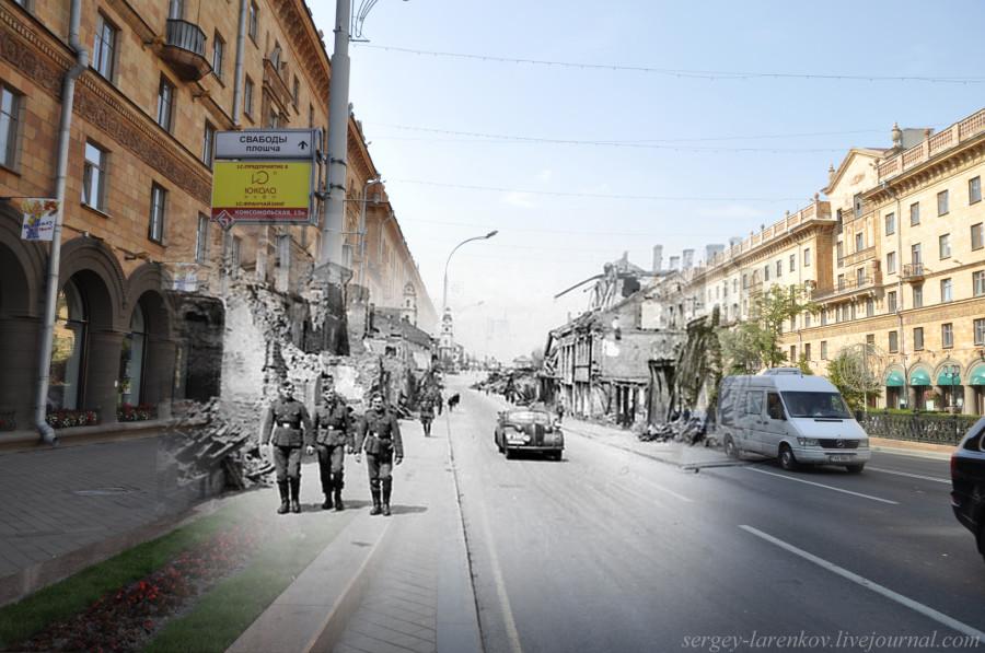 07.Минск 1941-2013 Немецкие солдаты на улице ЛенинаSL