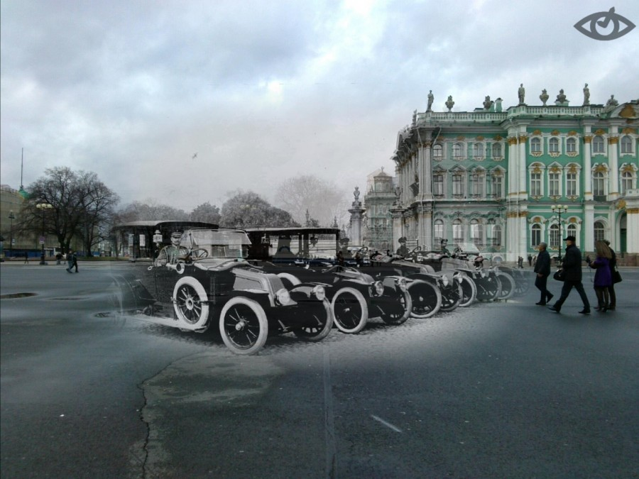 Автомобили у Зимнего дворца