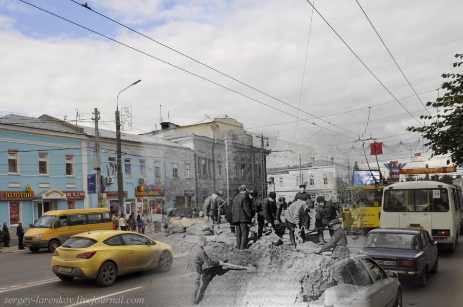 Тула 1941-1945 Строительство баррикады на пр.Ленина