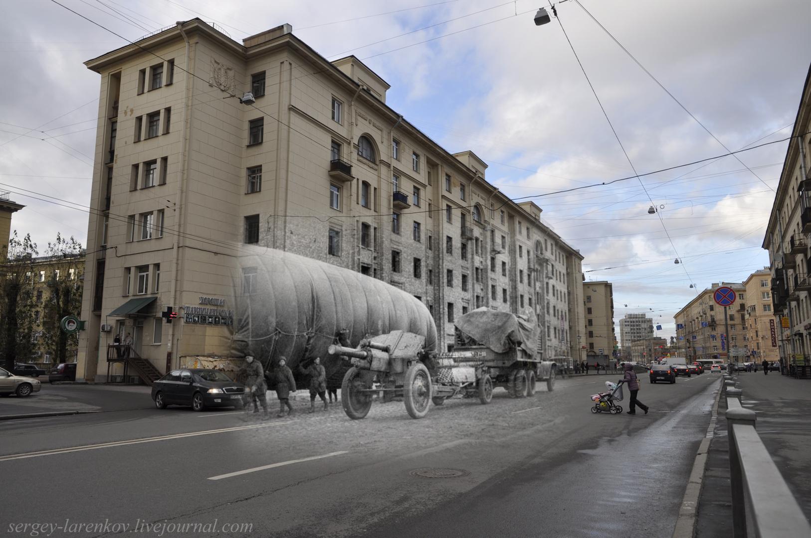 Ленинград 1944-Санкт-Петербург 2013 Ул. Бабушкина. Тяжелая артиллерия выдвигается на позиции