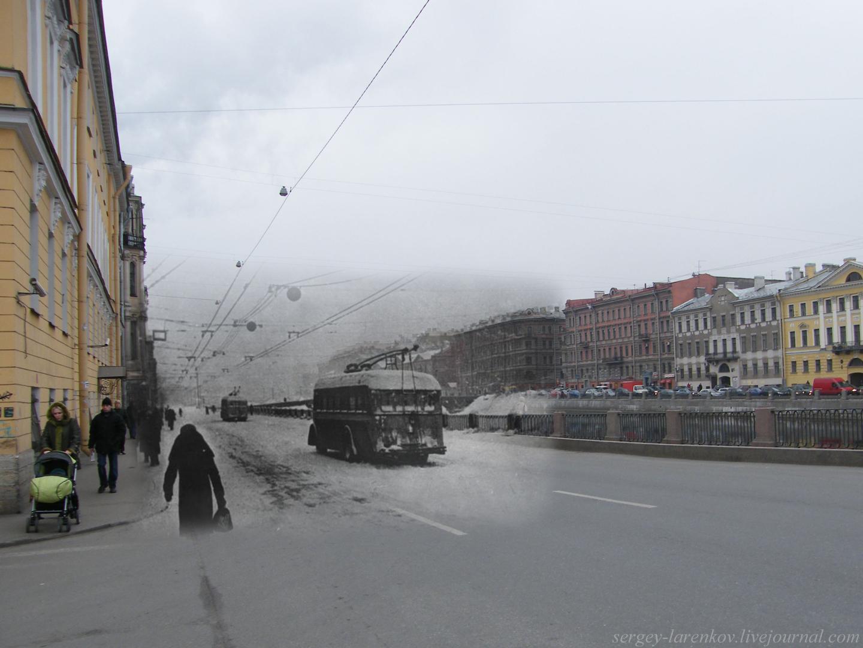134.Ленинград 1942-2009 Набережная фонанки 92. Замерзшие троллейбусы