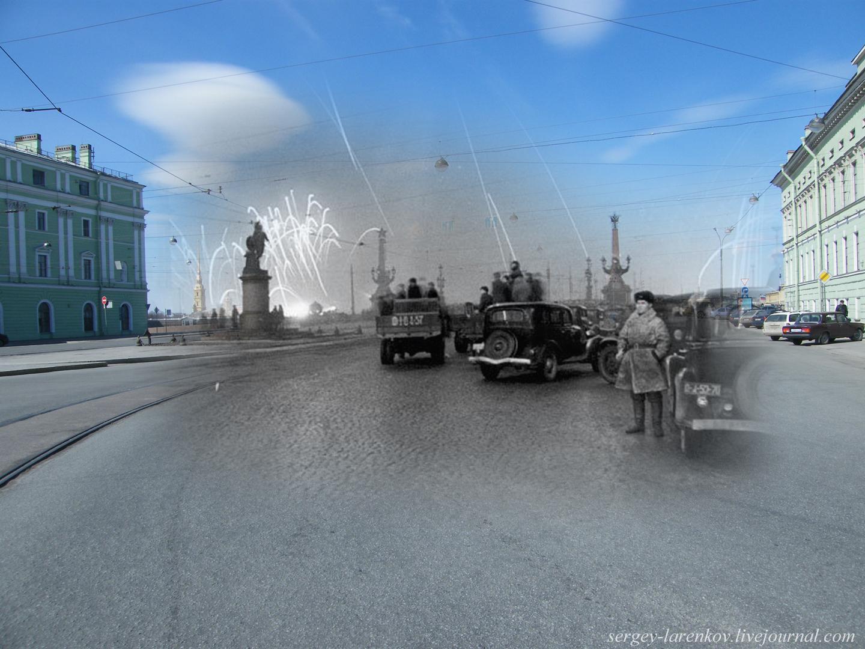 080.Ленинград 1944-2009 Суворовская площадь. Салют в честь полного освобождения Ленинграда от блокады