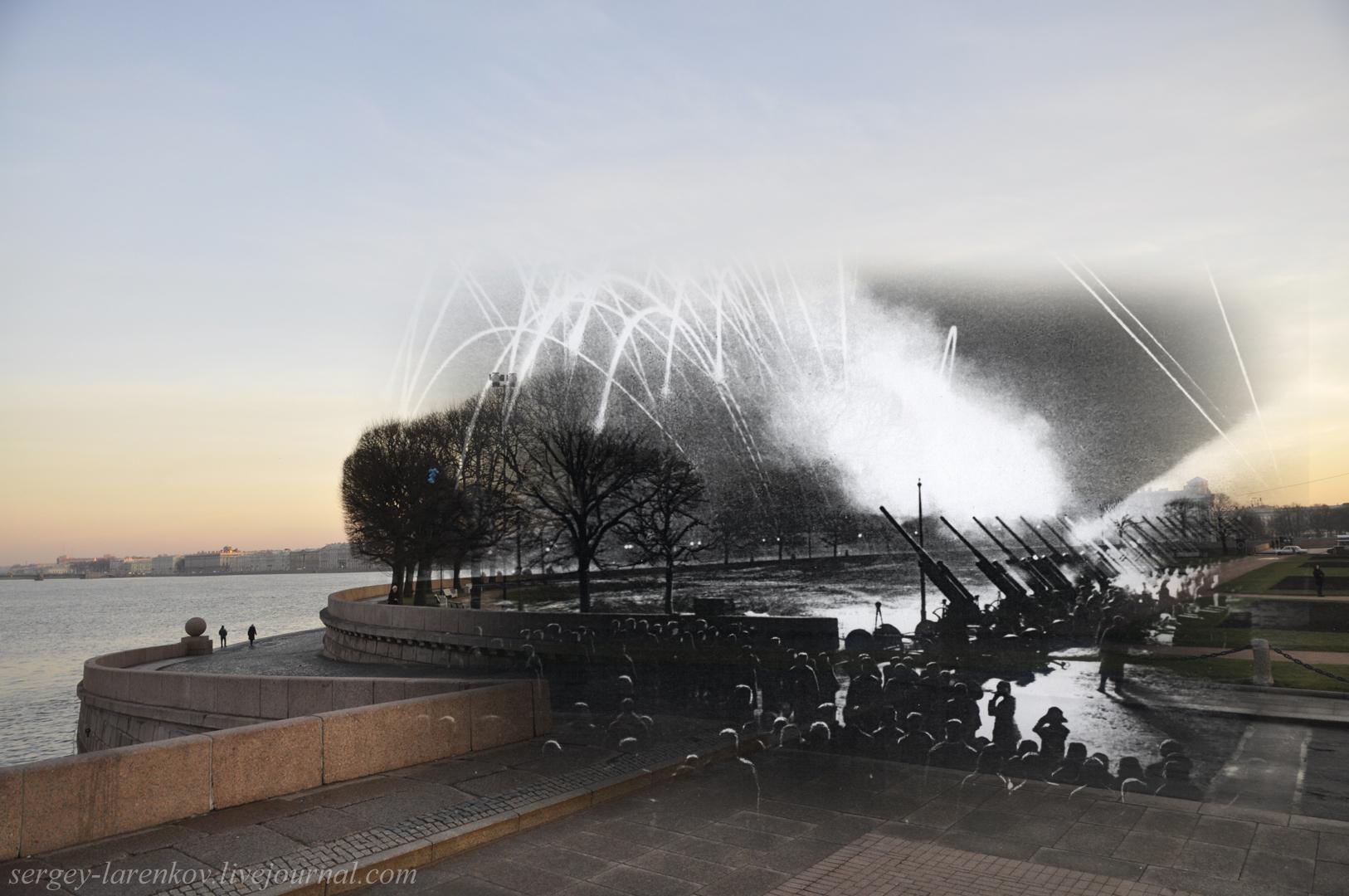 290. Ленинград 1944-2013. Салют. Вид от Северной Росстральной колонны