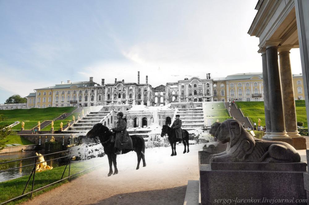 182.Петергоф 1944-2011 Советский конный патруль в Нижнем парке после освобожения Петергофа