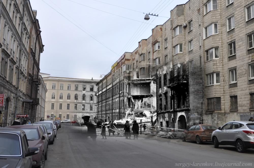 235.Ленинград 1942-2013. Разрушения на Бронницкой улице.sL
