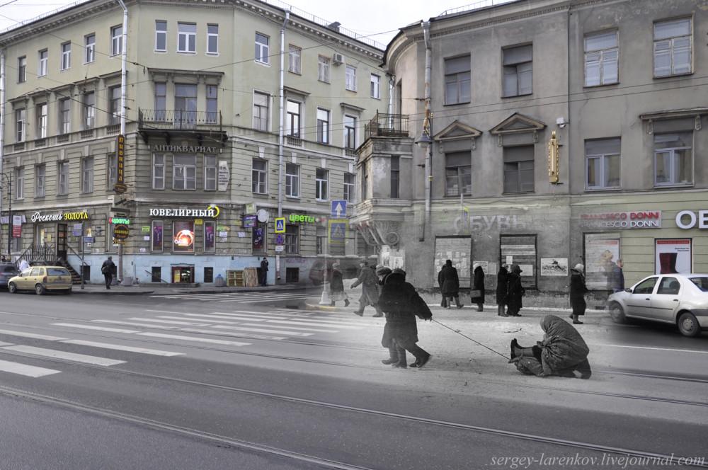 236.Ленинград 1942-2013 Санки с дистрофиком на Владимирском проспекте.SL