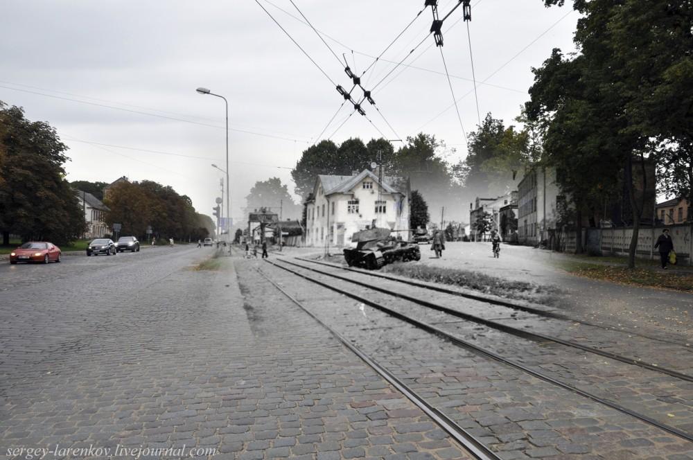 01.Рига 1941-2013 Подбитый советский танк Т26 на улице Виенибас Гатве SL