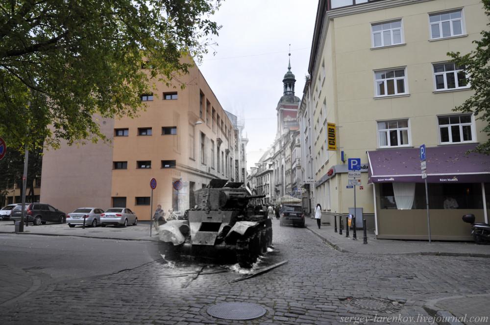 08.Рига 1941-2013 подбитый танк БТ-7 на улице Марсталю SL