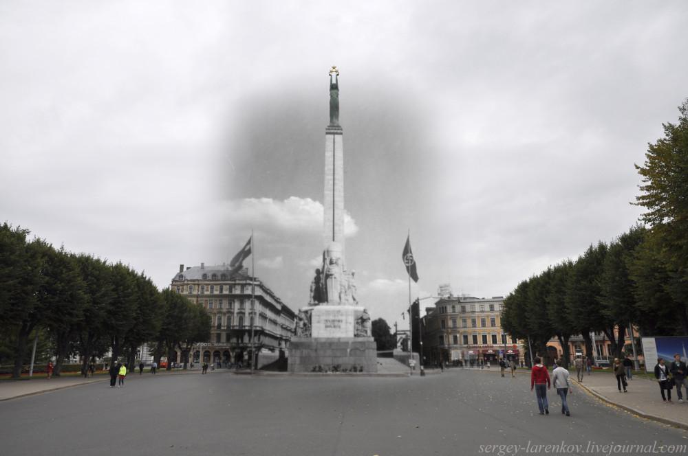 17.Рига 1941-2013 памятник Свободы с флагами SL