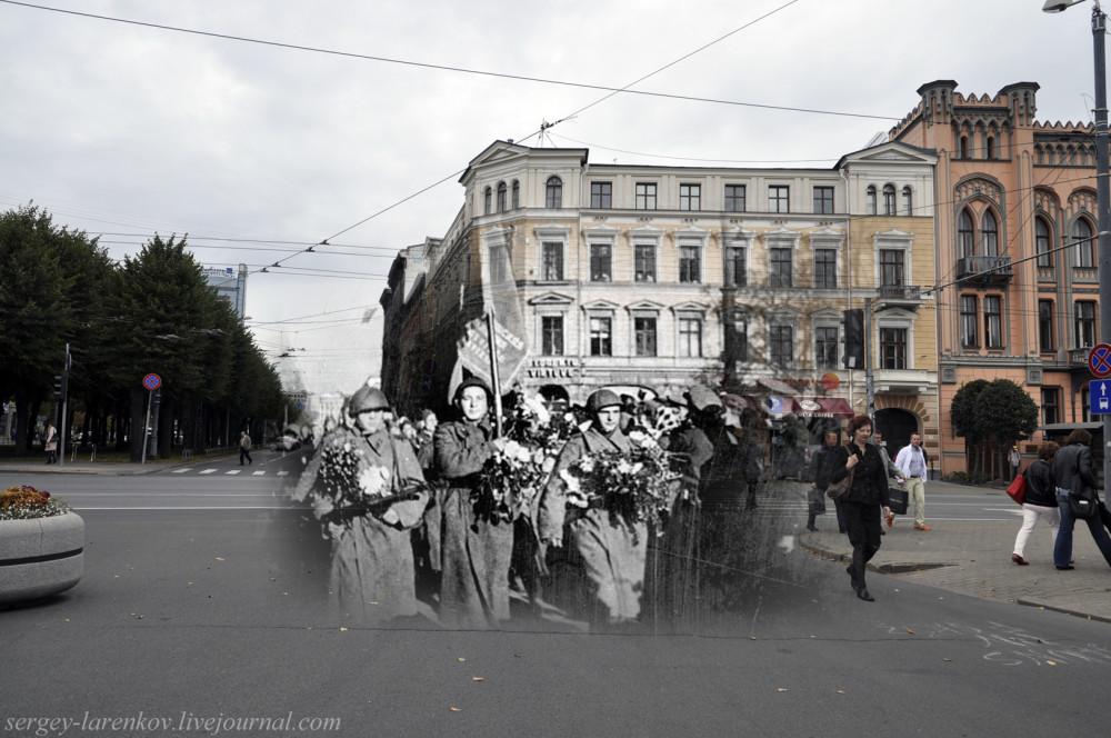 33.Рига 1944-2013 улица Бривибас. Солдаты 130-го Латышского стрелкового корпуса вступают в Ригу, 16 октября 1944 года SL