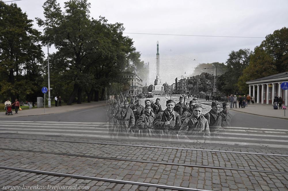 36.Рига 1944-2013 красноармейцы у памятника Свободы SL